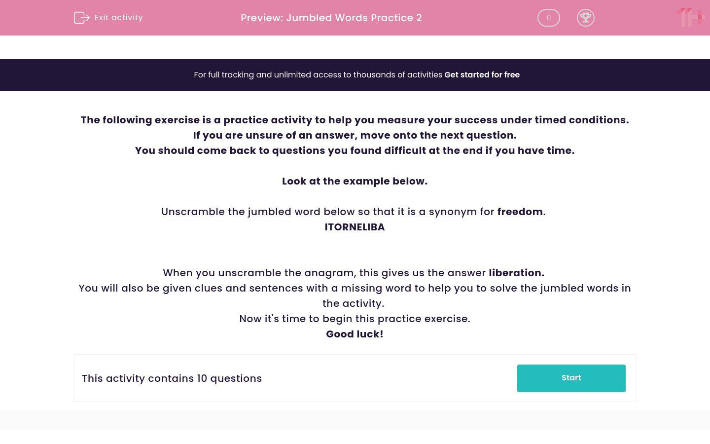 'Jumbled Words Practice 2' worksheet