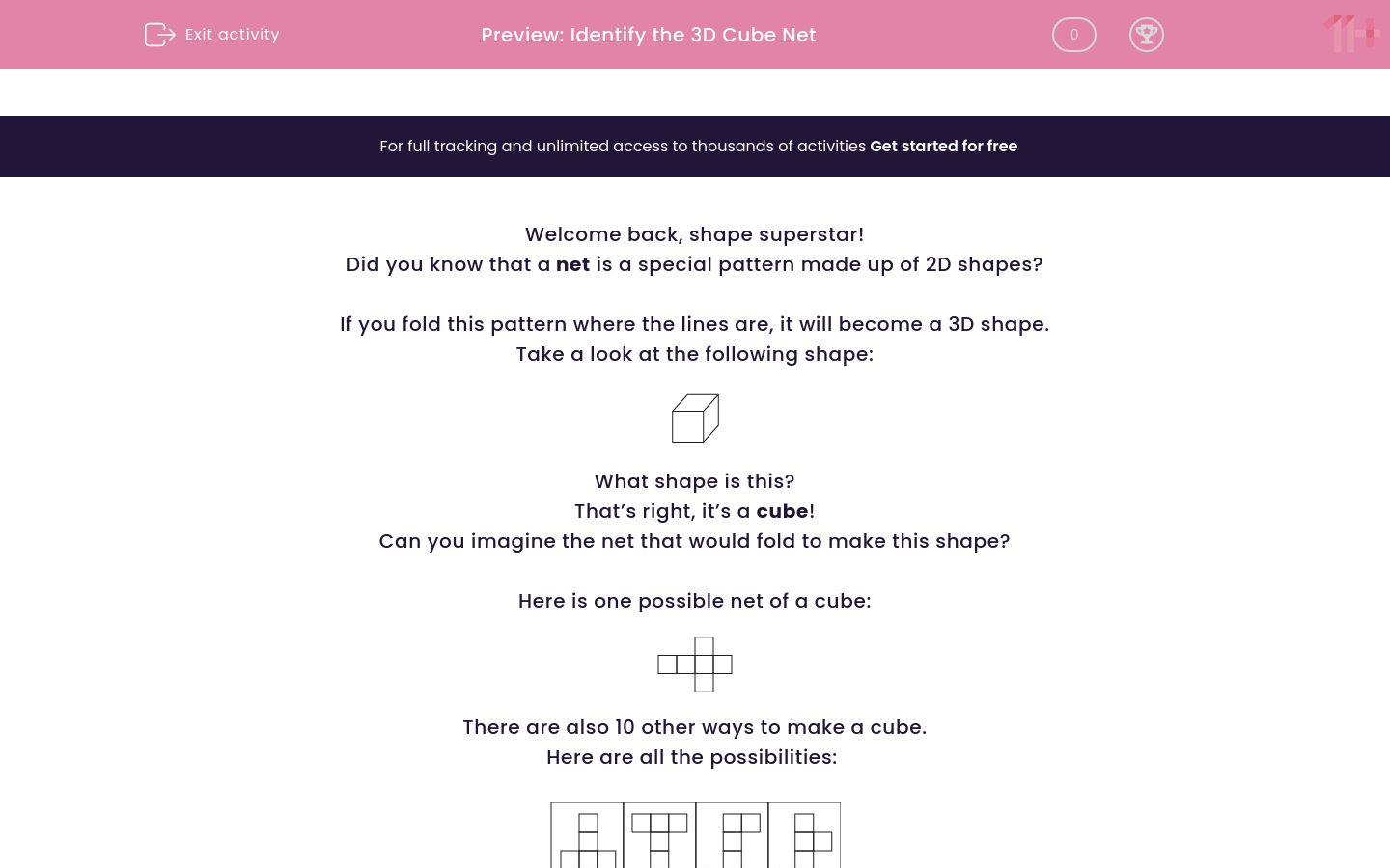 'Identify the 3D Cube Net' worksheet