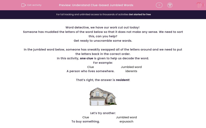 'Understand Clue-based Jumbled Words' worksheet
