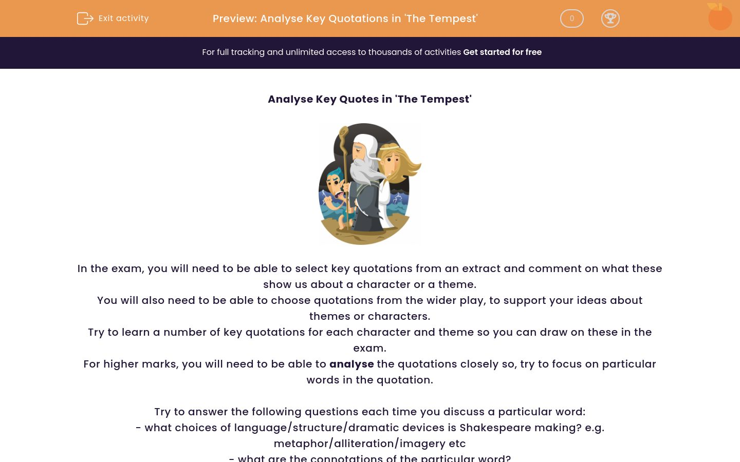 'Analyse Key Quotations in 'The Tempest'' worksheet