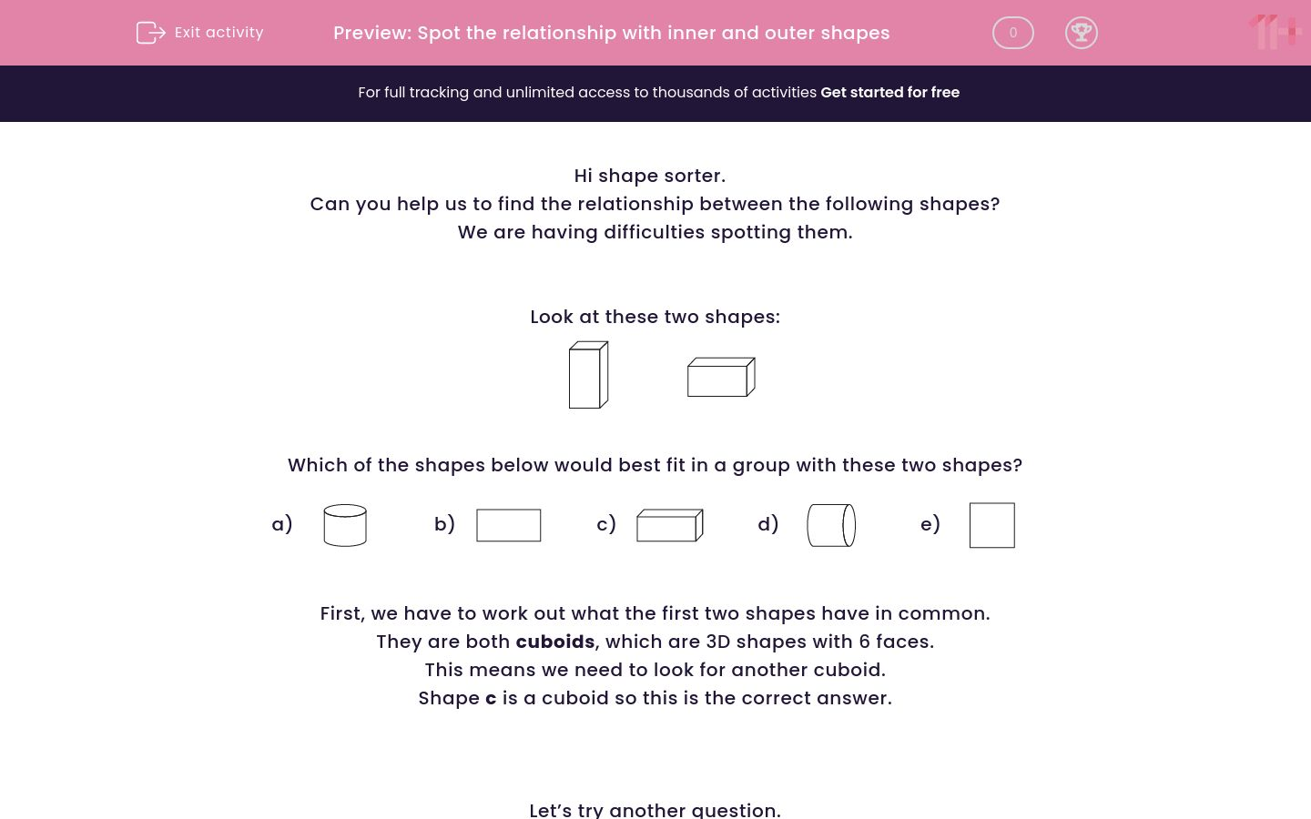 'Spot the relationship with inner and outer shapes' worksheet