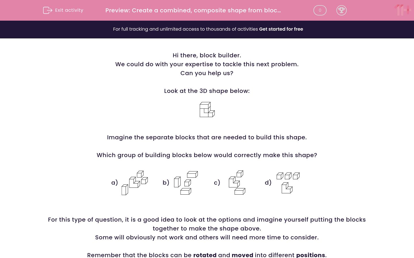 'Create a combined, composite shape from blocks 1' worksheet