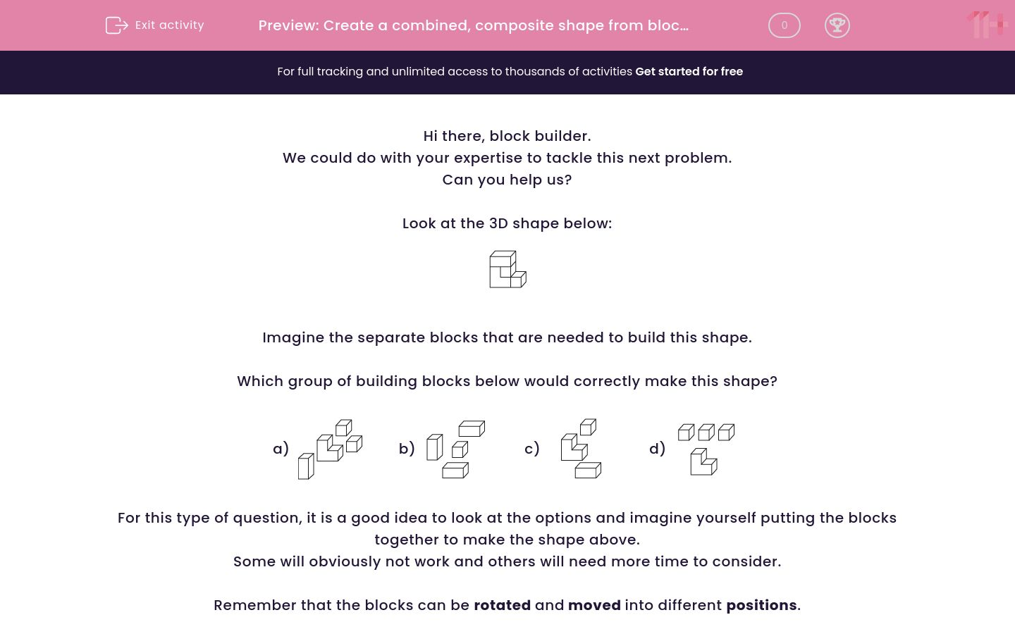 'Spot the Building Blocks which Create the Shape' worksheet