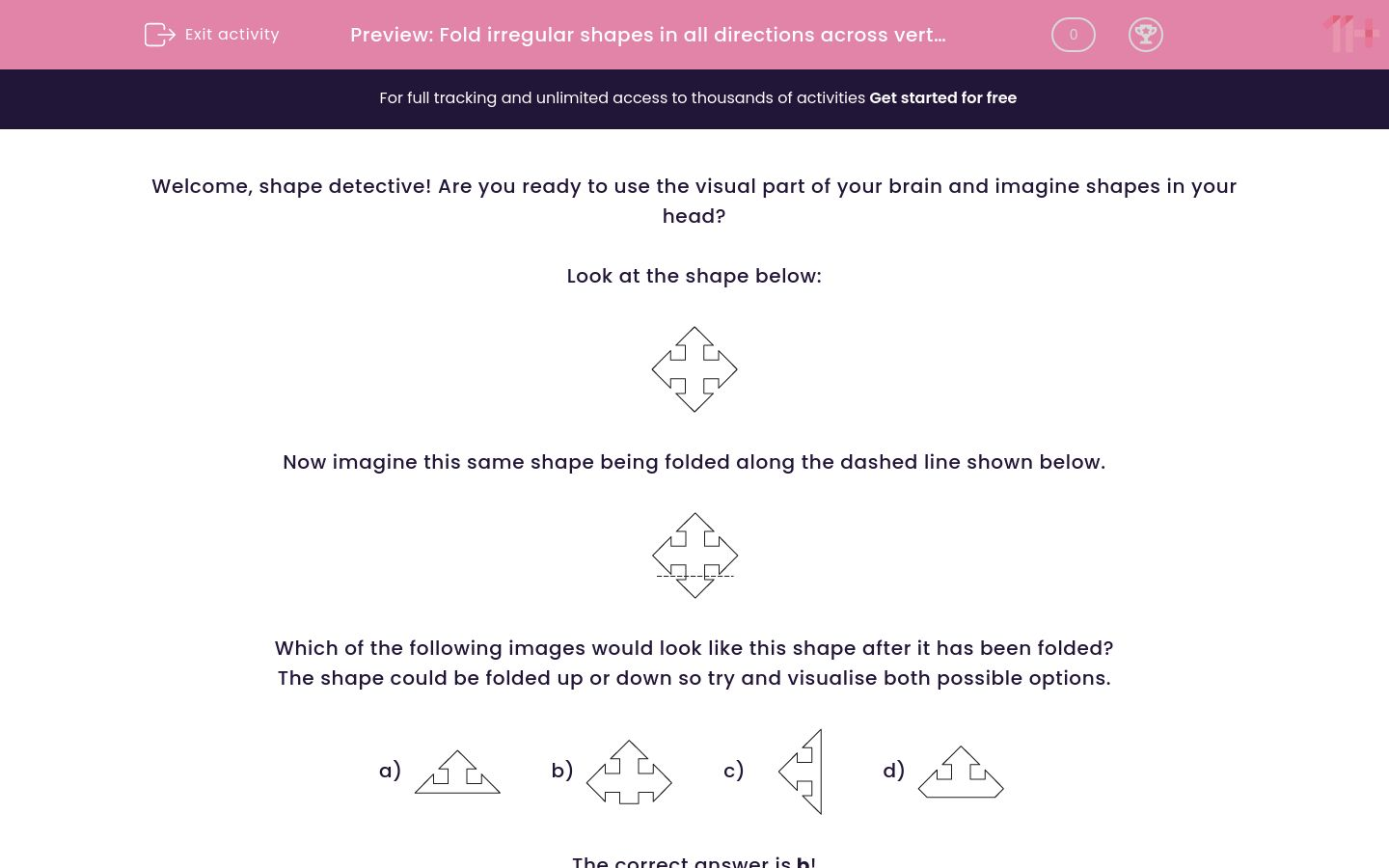 'Fold irregular shapes in all directions across vertical, horizontal and diagonal fold lines 2' worksheet