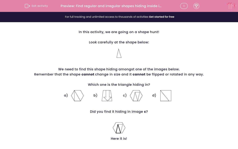 'Find Regular and Irregular Shapes Hiding Inside Images' worksheet