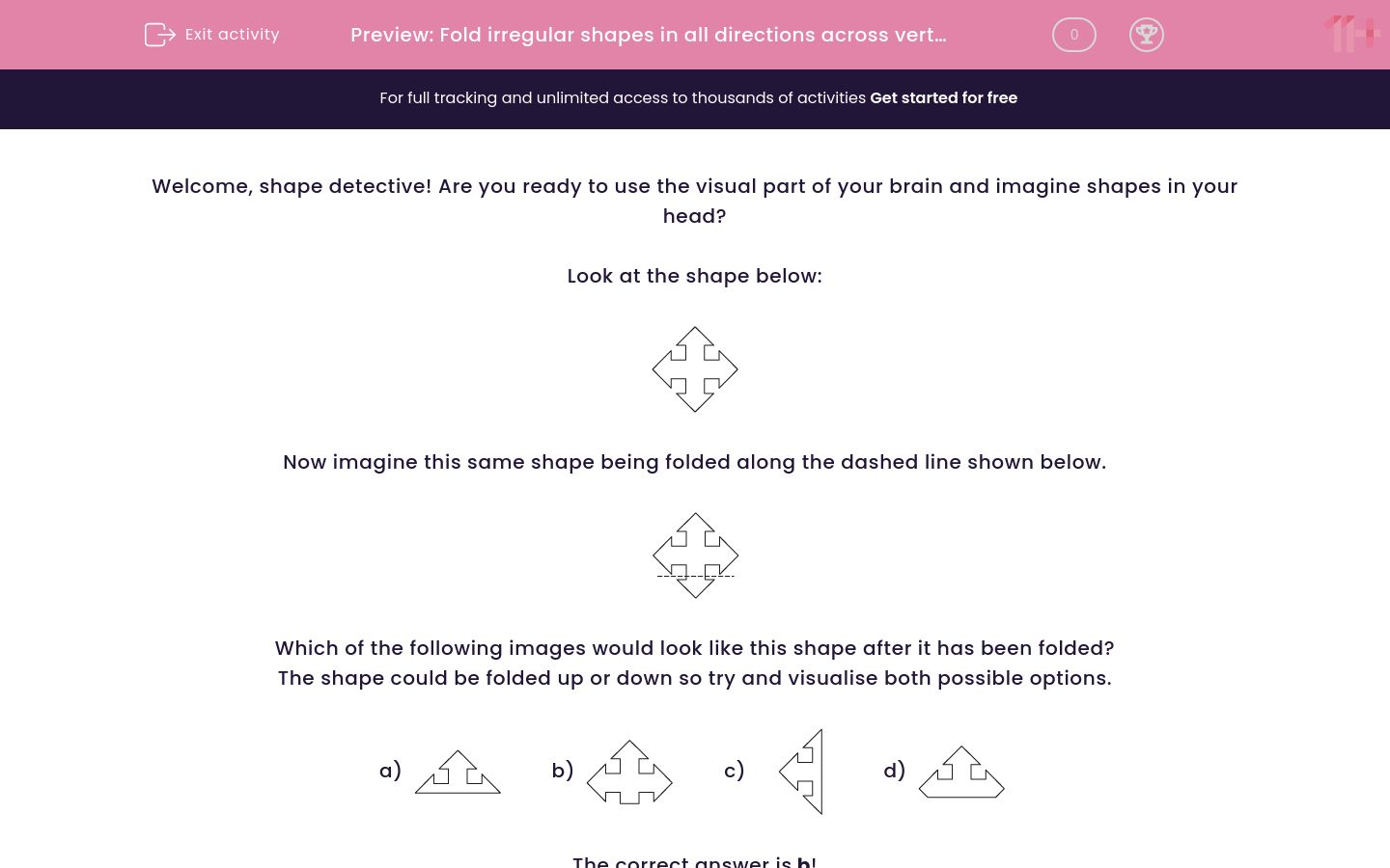 'Fold irregular shapes in all directions across vertical, horizontal and diagonal fold lines 1' worksheet