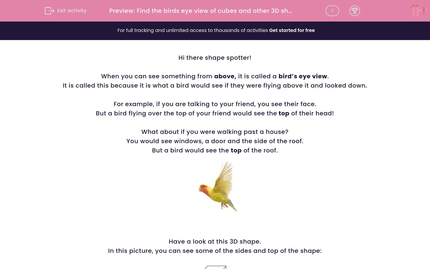 'Find the birds eye view of cubes and other 3D shapes' worksheet