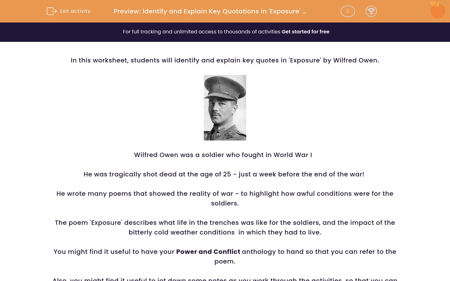 'Identify and Explain Key Quotations in 'Exposure' by Wilfred Owen ' worksheet