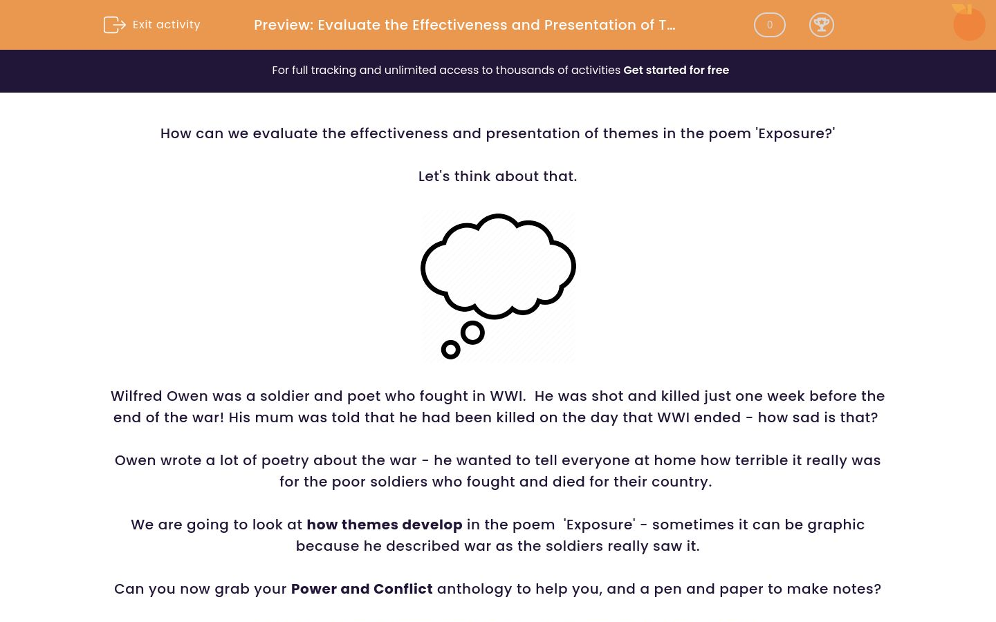 'Evaluate the Effectiveness and Presentation of Themes in the Poem 'Exposure' by Wilfred Owen' worksheet