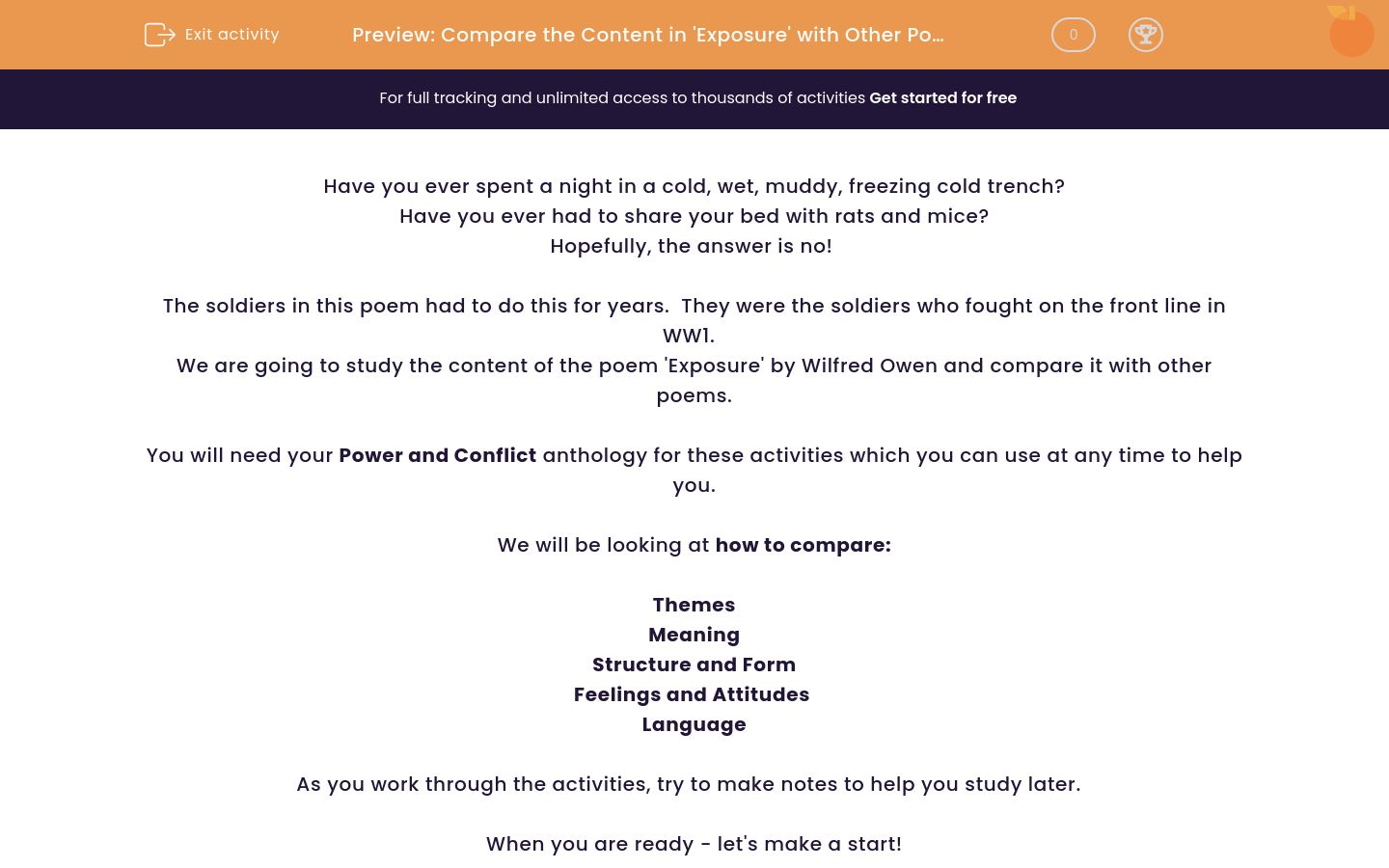 'Compare the Content in 'Exposure' with Other Poems.' worksheet