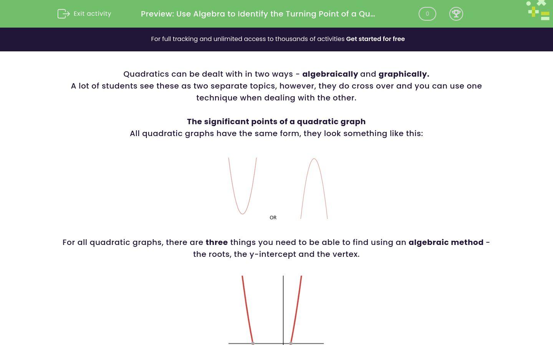 'Use Algebra to Identify the Turning Point of a Quadratic' worksheet