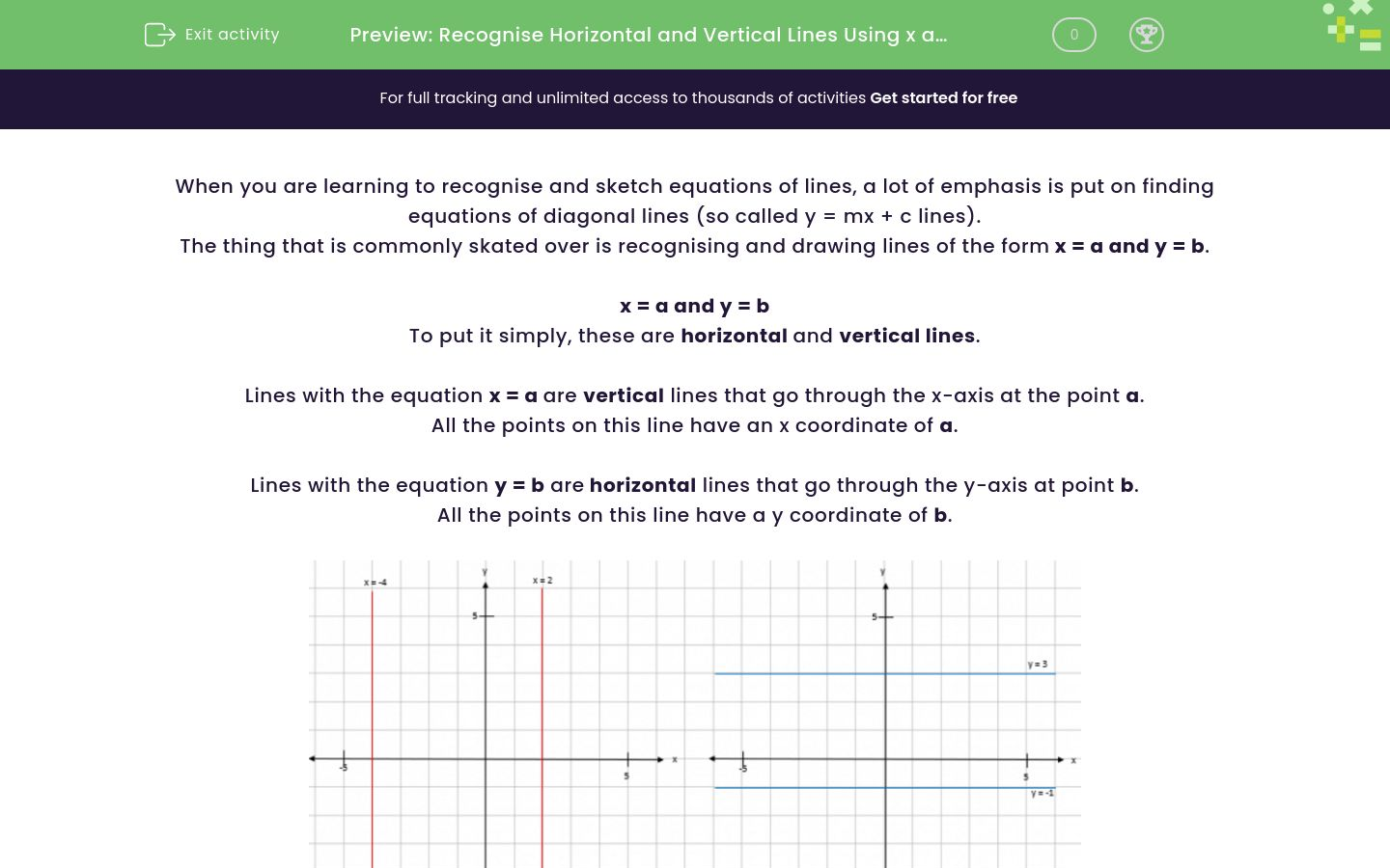 'Recognise Horizontal and Vertical Lines Using x and y Coordinates' worksheet