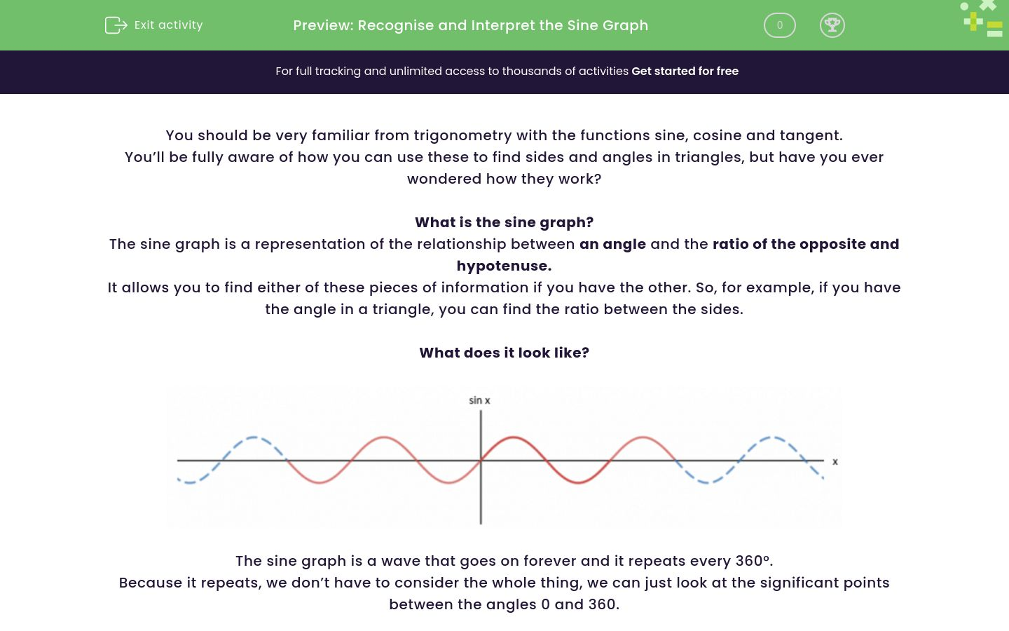 'Recognise and Interpret the Sine Graph' worksheet
