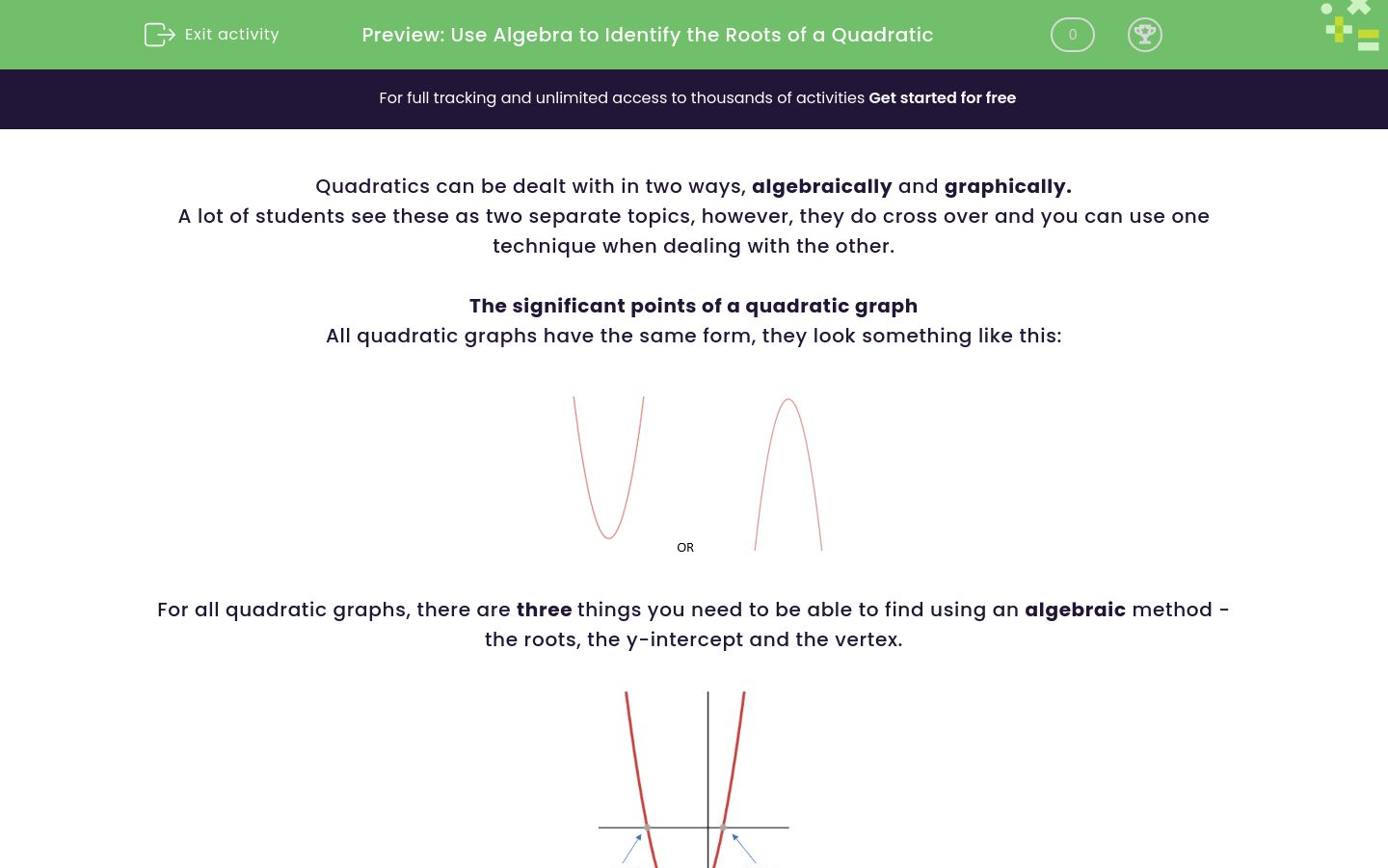 'Use Algebra to Identify the Roots of a Quadratic' worksheet