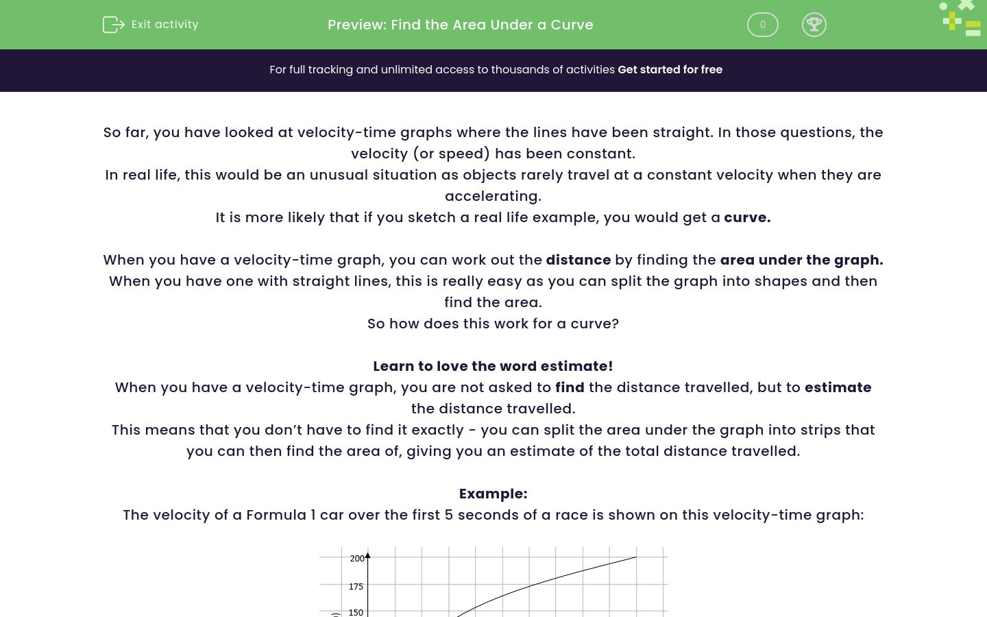 'Find the Area Under a Curve' worksheet