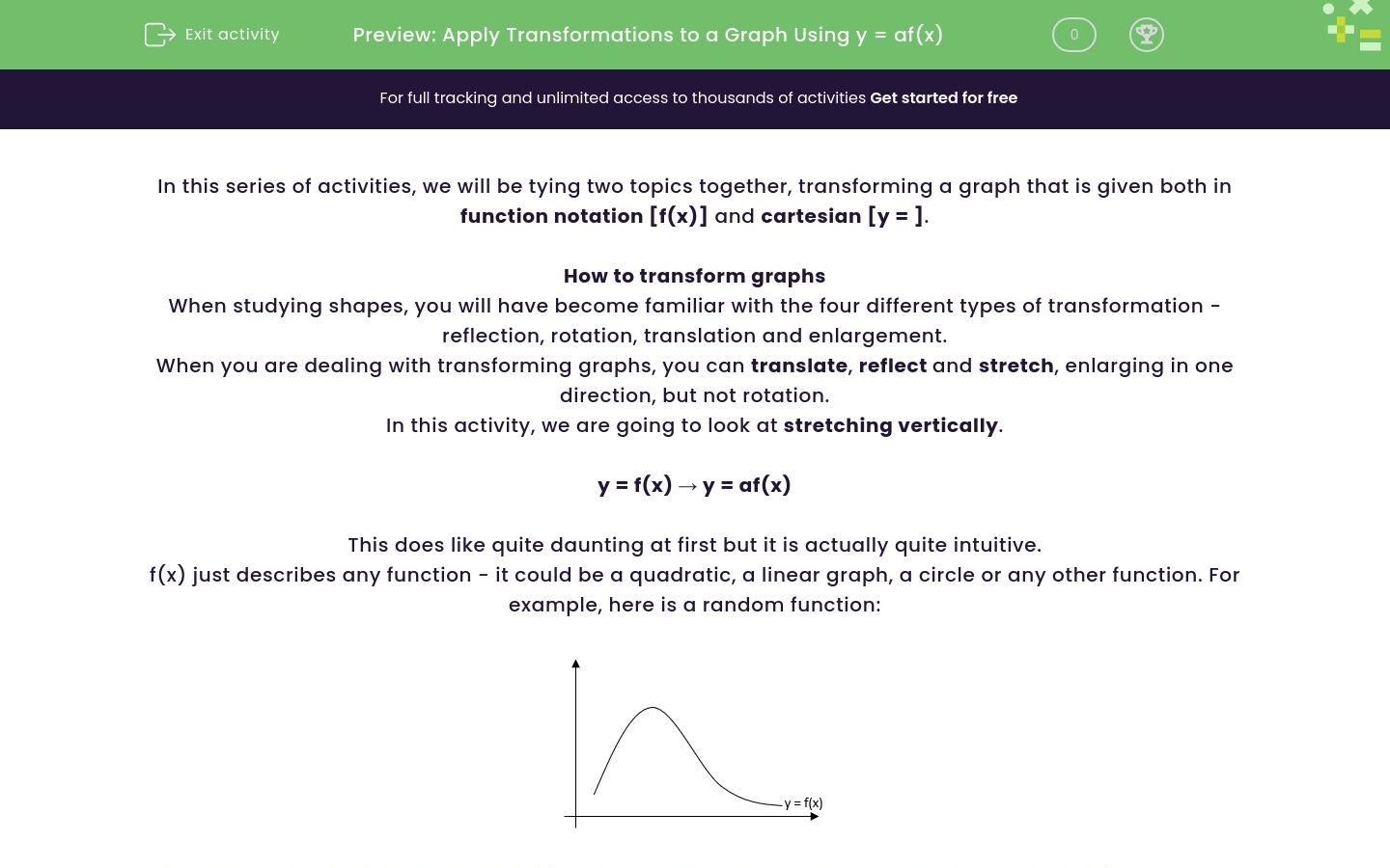 'Apply Transformations to a Graph Using  y = af(x) ' worksheet