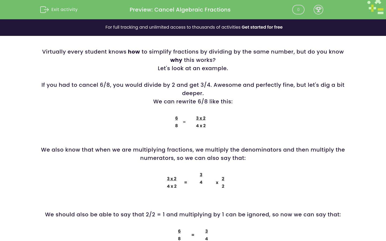 'Cancel Algebraic Fractions' worksheet