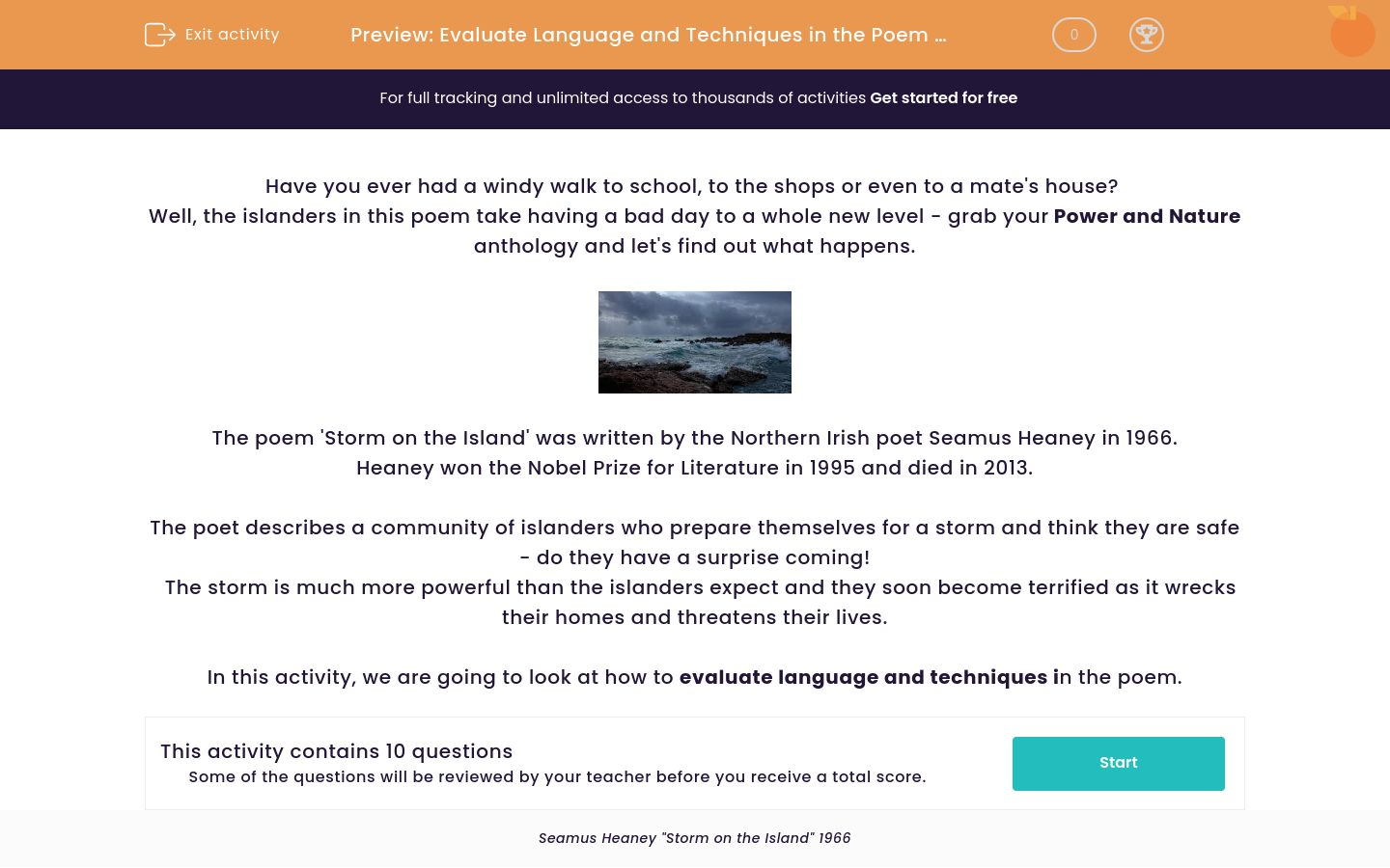 'Evaluate Language and Techniques in the Poem 'Storm on the Island' by Seamus Heaney' worksheet