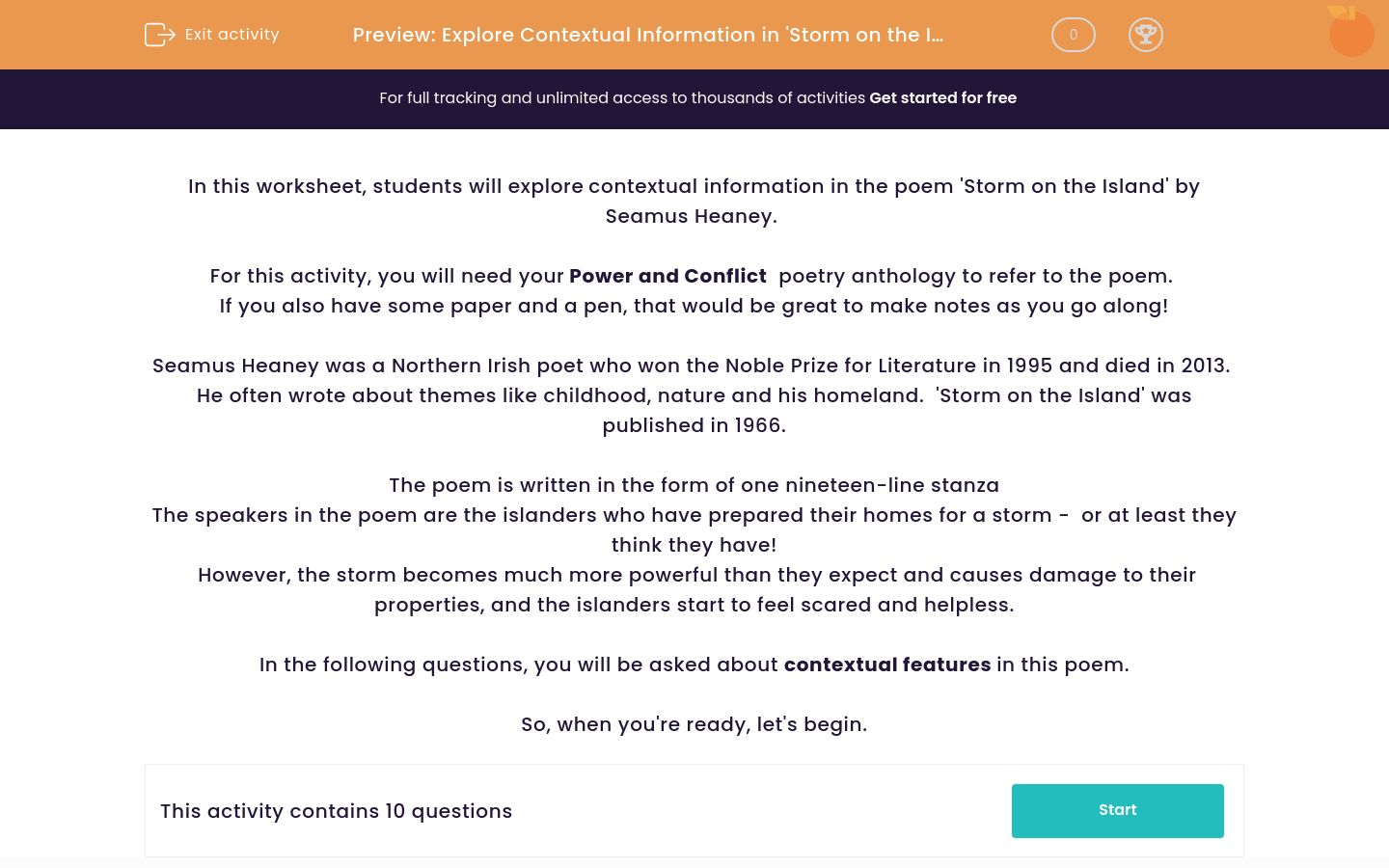 'Explore Contextual Information in 'Storm on the Island' by Seamus Heaney' worksheet