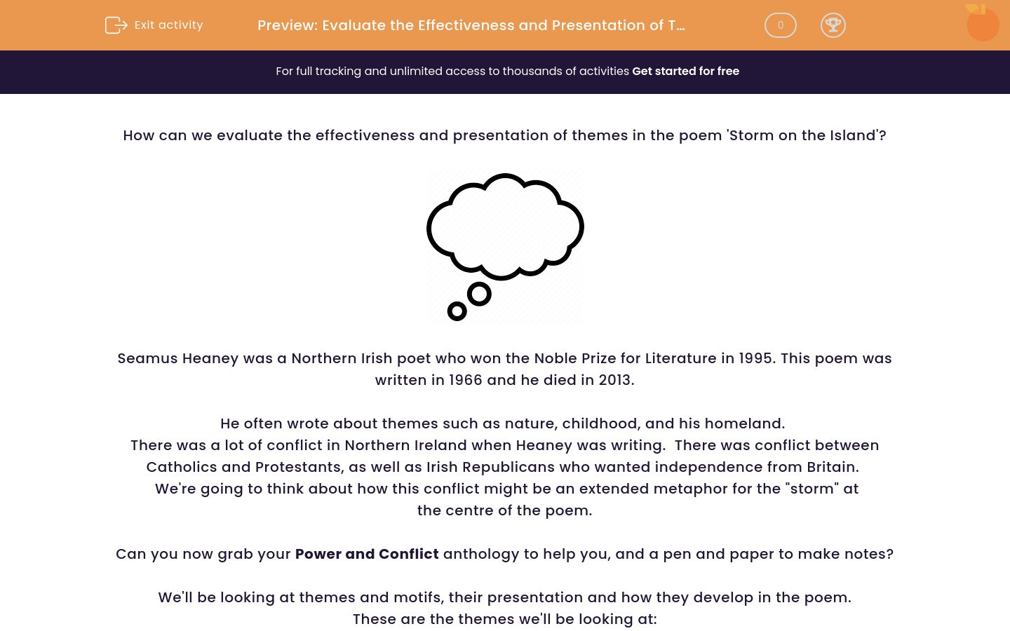 'Evaluate the Effectiveness and Presentation of Themes in the Poem 'Storm on the Island' by Seamus Heaney' worksheet