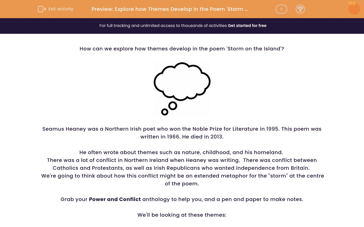 'Explore how Themes Develop in the Poem 'Storm on the Island' by Seamus Heaney' worksheet