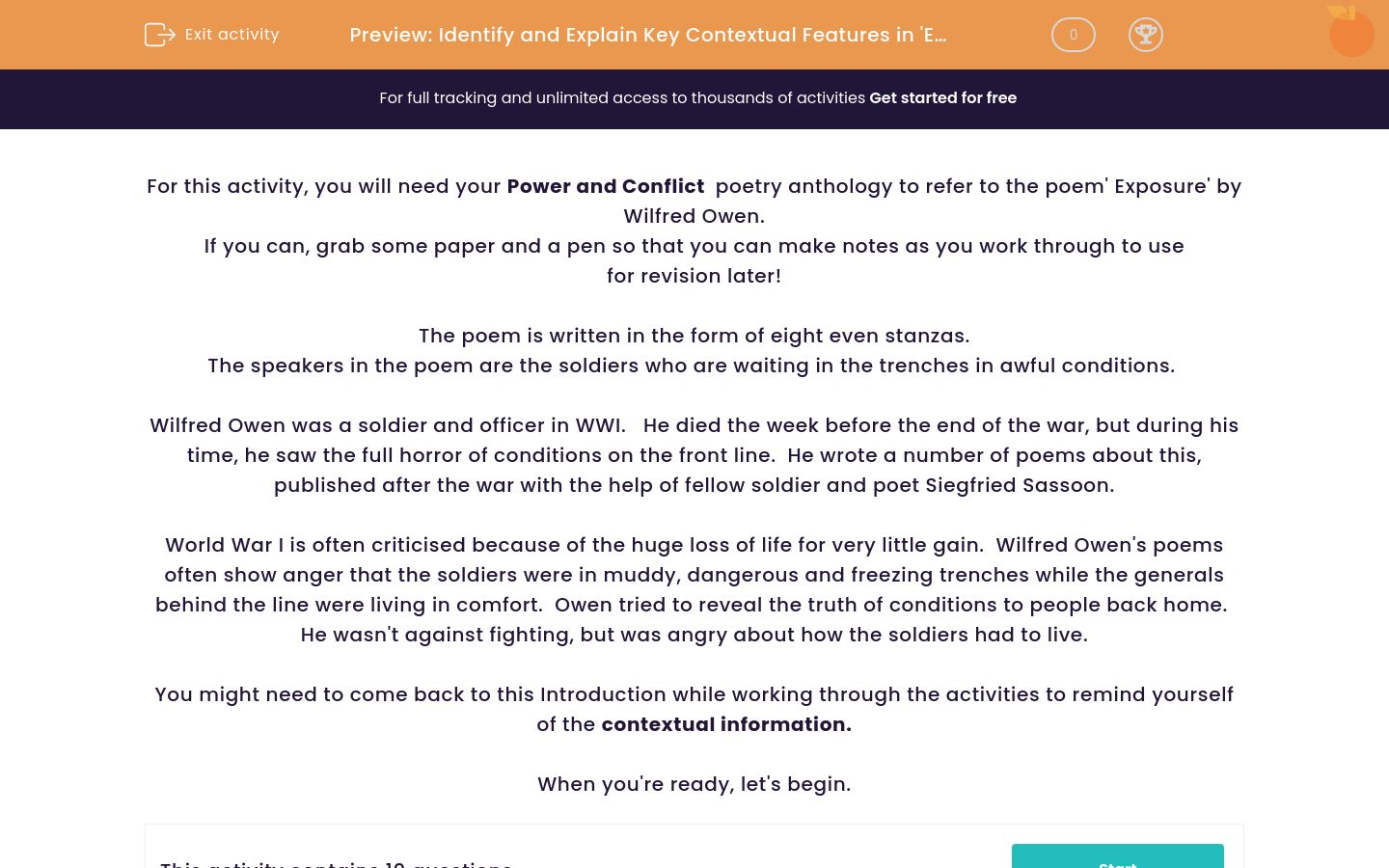 'Identify and Explain Key Contextual Features in 'Exposure' by Wilfred Owen' worksheet