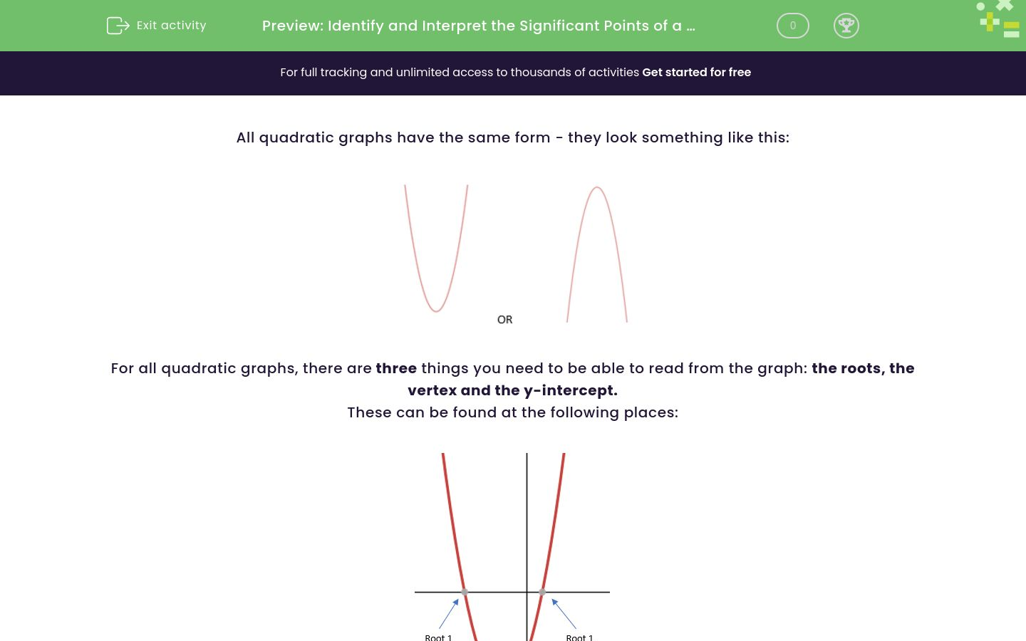 'Identify and Interpret the Significant Points of a Quadratic Graph' worksheet
