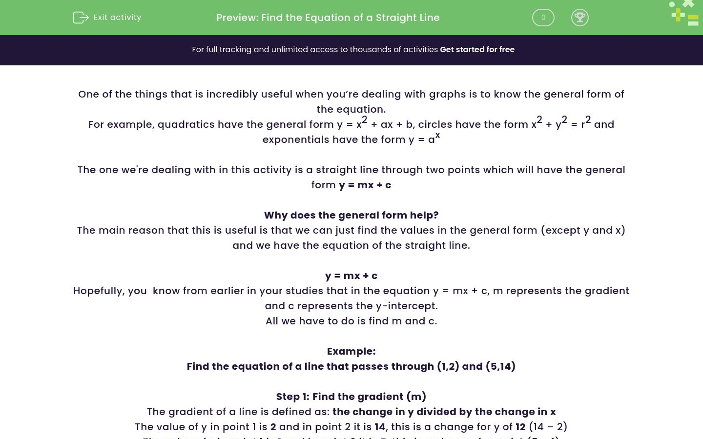 'Find the Equation of a Straight Line ' worksheet