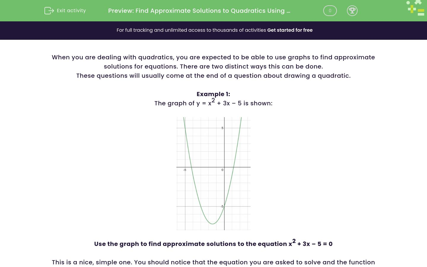 'Find Approximate Solutions to Quadratics Using a Graph' worksheet