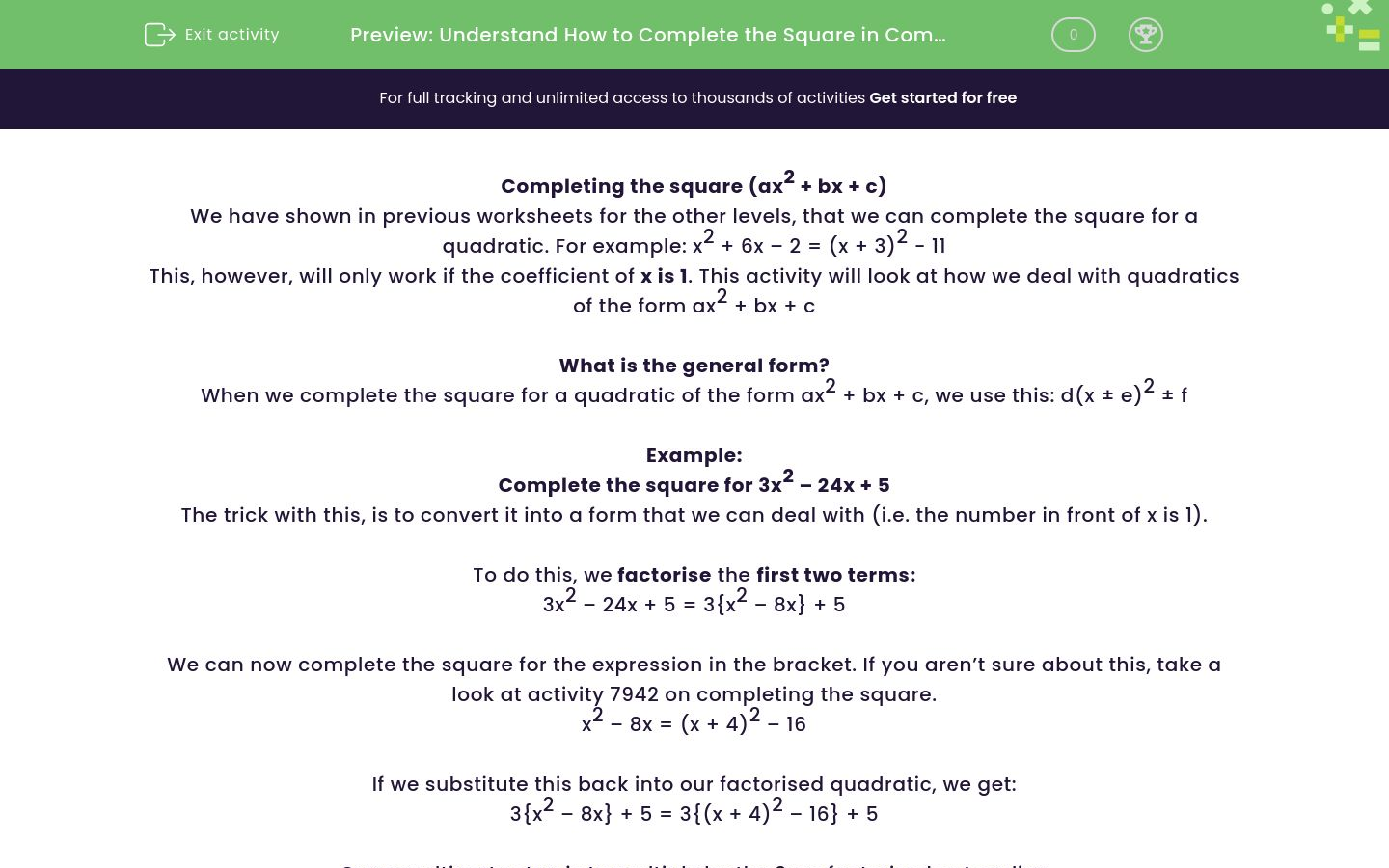 'Understand How to Complete the Square in Complex Quadratics' worksheet