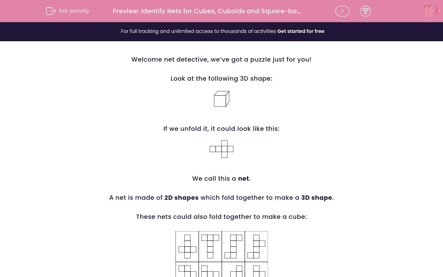 'Identify Nets for Cubes, Cuboids and Square-based Pyramids' worksheet