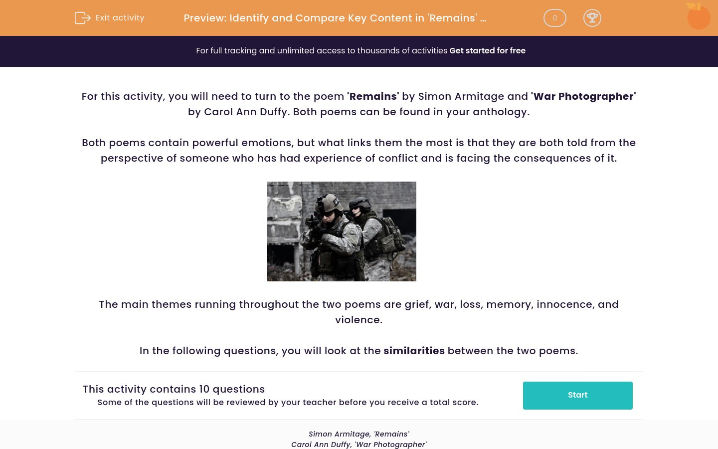 'Identify and Compare Key Content in 'Remains' by Simon Armitage and 'War Photographer' by Carol Ann Duffy ' worksheet