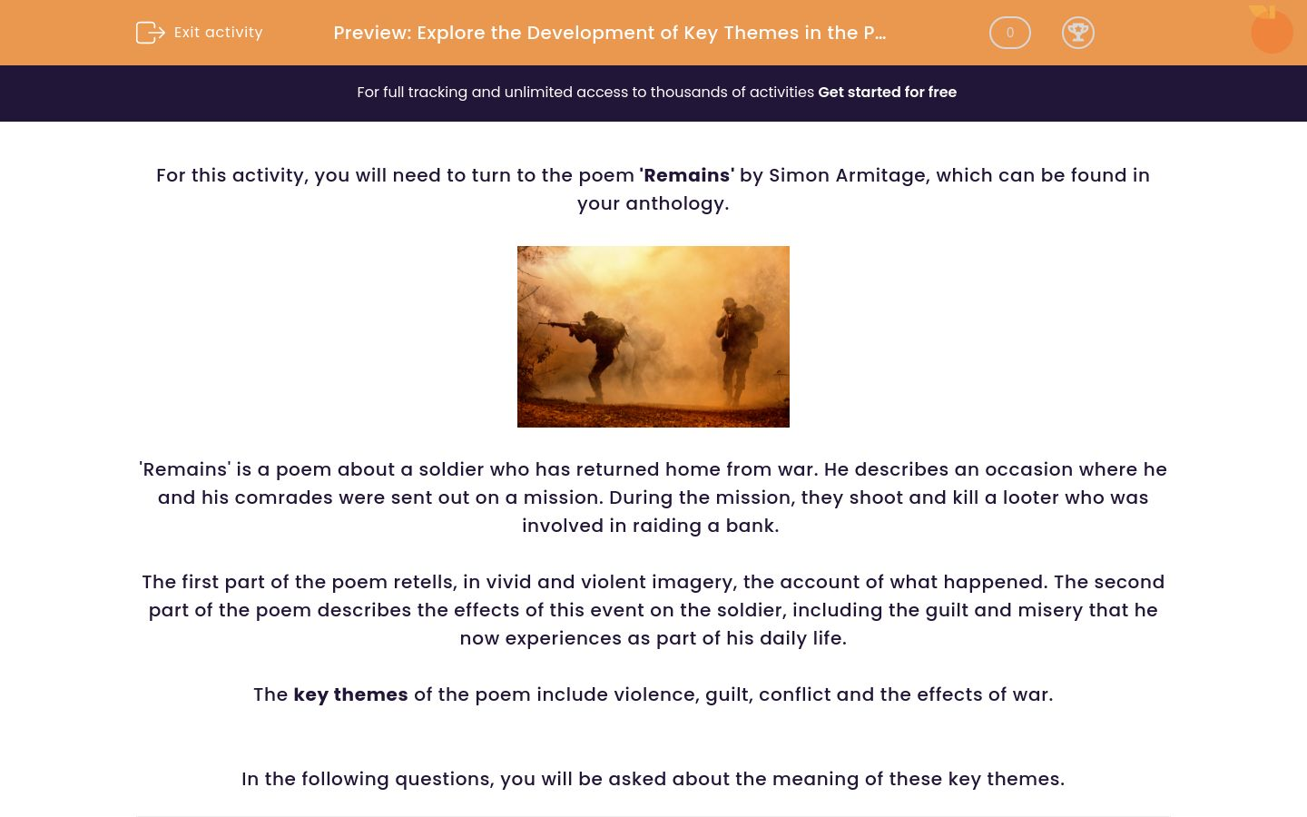 'Explore the Development of Key Themes in the Poem 'Remains' ' worksheet