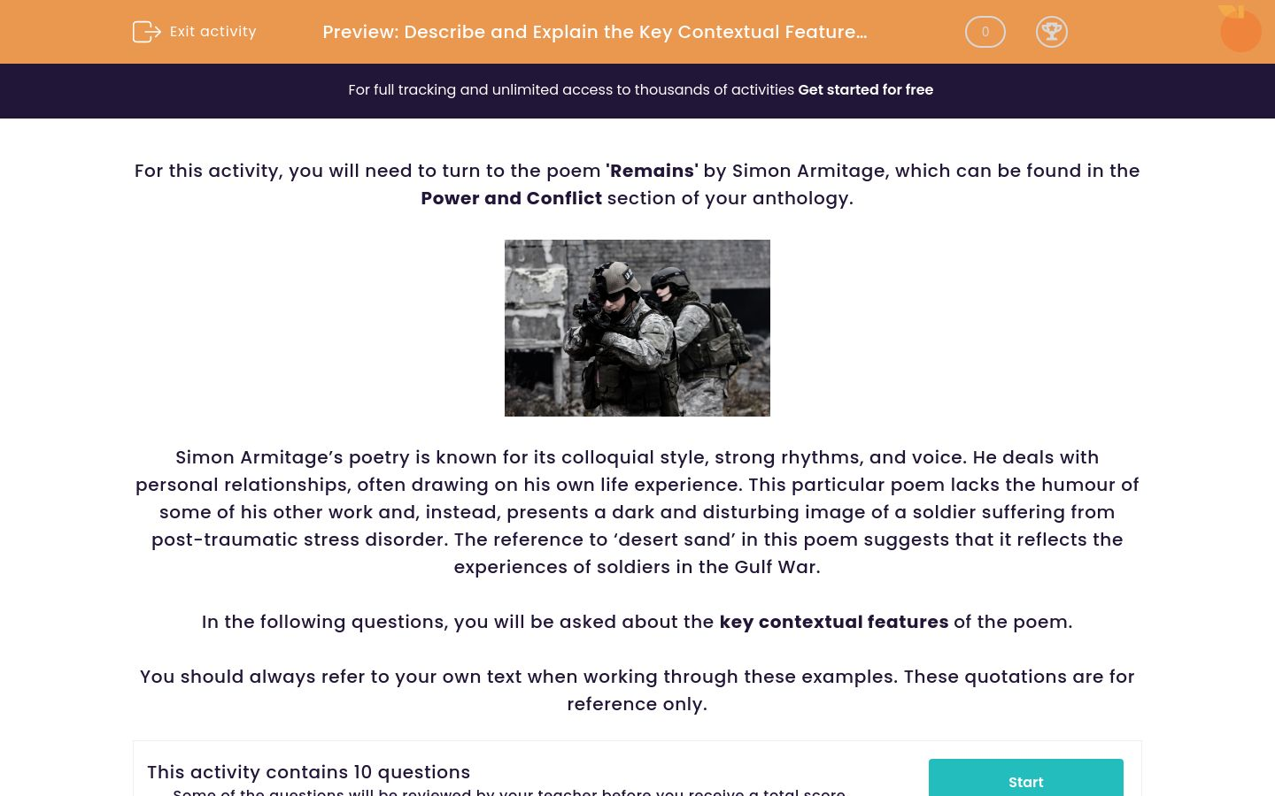 'Describe and Explain the Key Contextual Features of the Poem 'Remains' by Simon Armitage ' worksheet