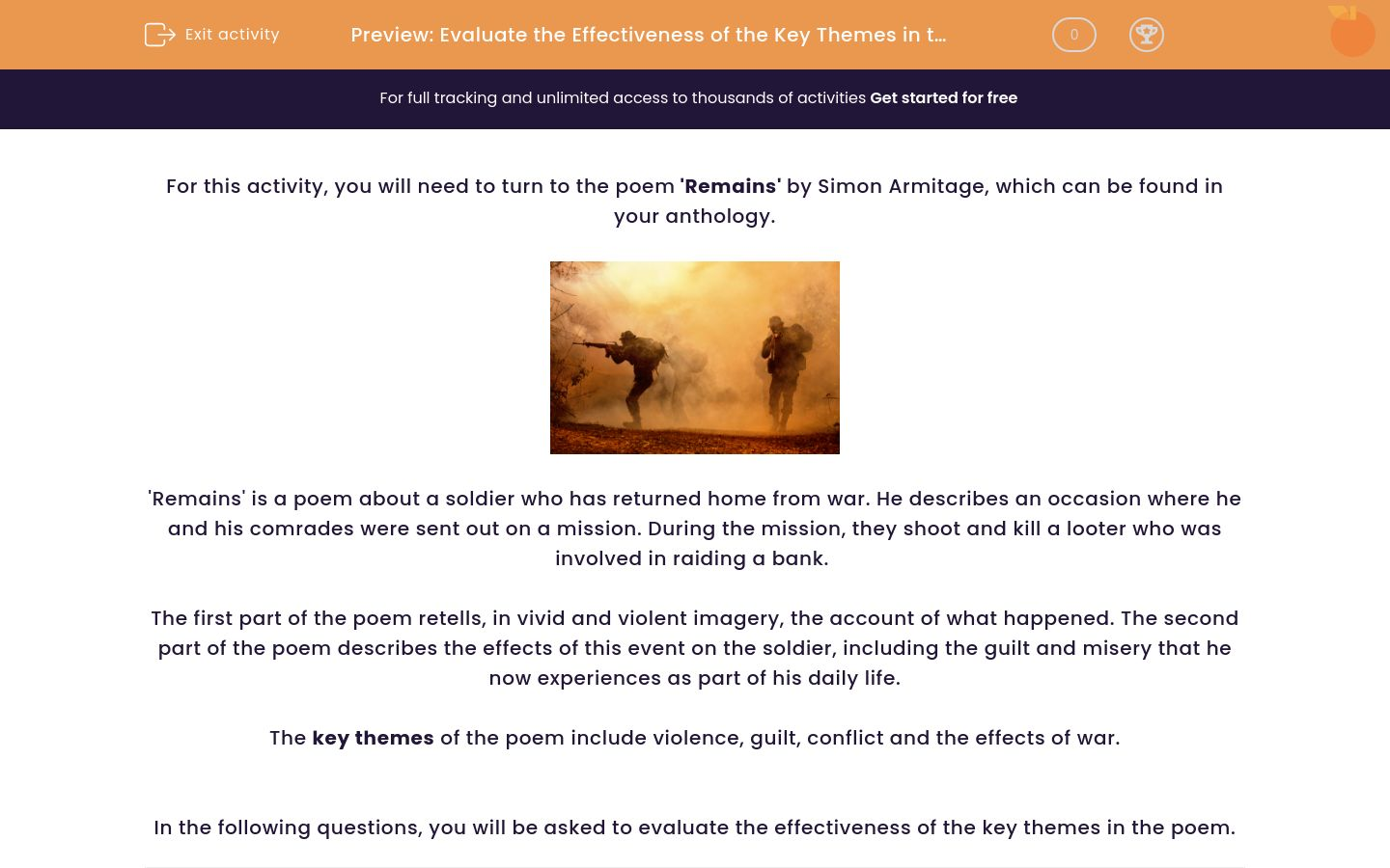 'Evaluate the Effectiveness of the Key Themes in the Poem 'Remains'' worksheet