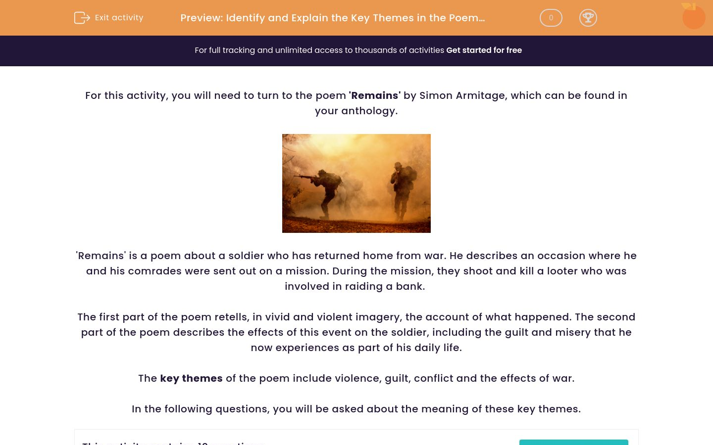 'Identify and Explain the Key Themes in the Poem 'Remains'' worksheet