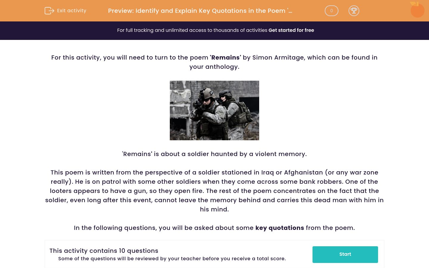 'Identify and Explain Key Quotations in the Poem 'Remains' by Simon Armitage' worksheet