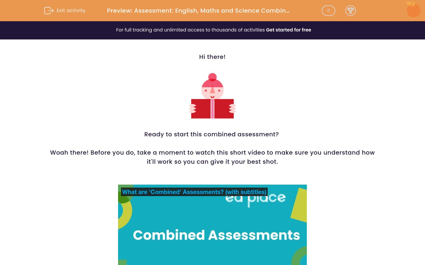 'Assessment: English, Maths and Science Combined (Y8)' worksheet