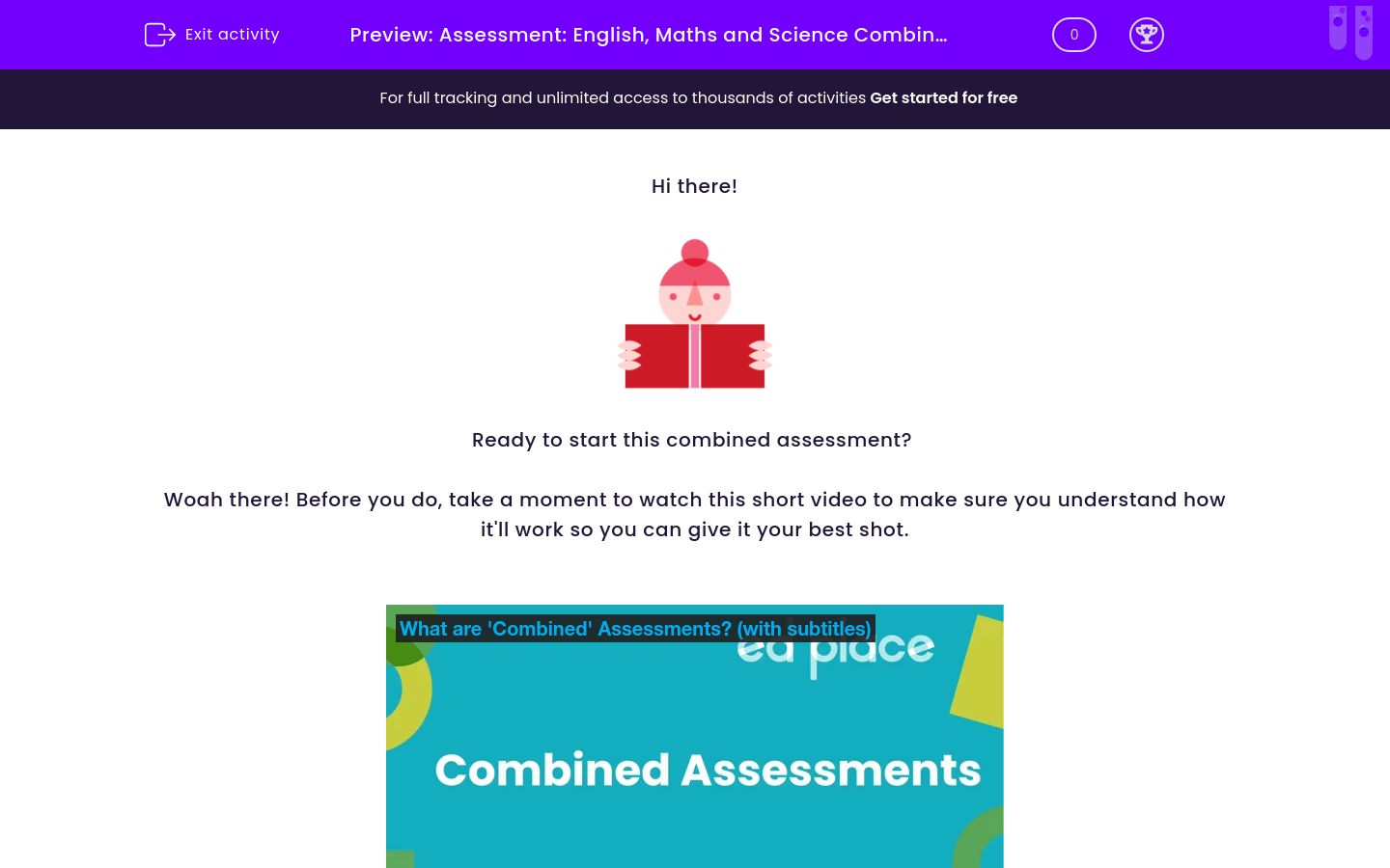 'Assessment: English, Maths and Science Combined (Y6)' worksheet