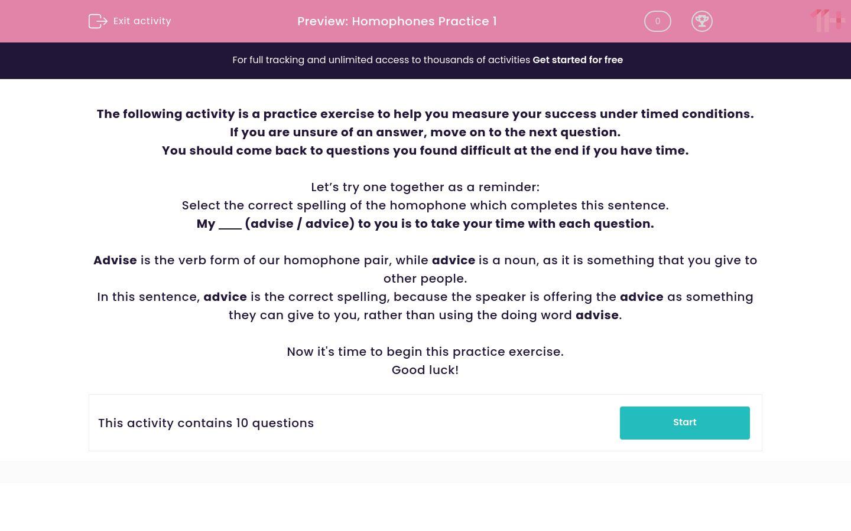 'Homophones Practice 1' worksheet