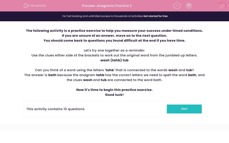 'Anagrams Practice 2' worksheet