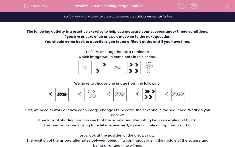 'Find the Missing Image Practice 1' worksheet