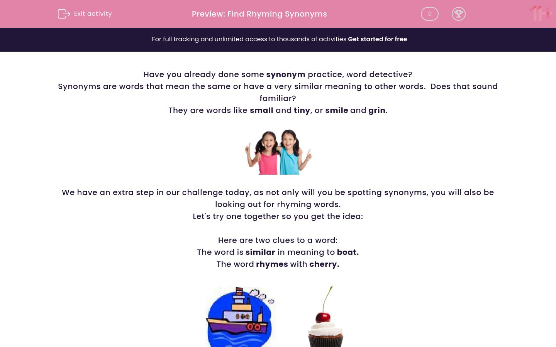'Find Rhyming Synonyms' worksheet