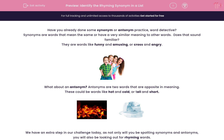'Identify the Rhyming Synonym in a List' worksheet