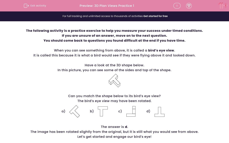 '3D Plan Views Practice 1' worksheet