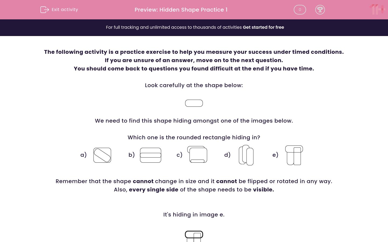 'Hidden Shape Practice 1' worksheet