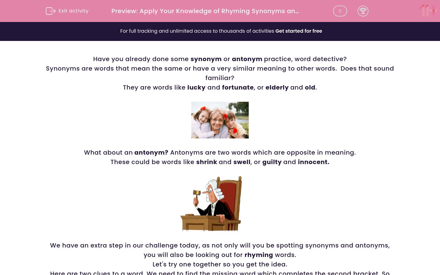 'Apply Your Knowledge of Rhyming Synonyms and Antonyms' worksheet