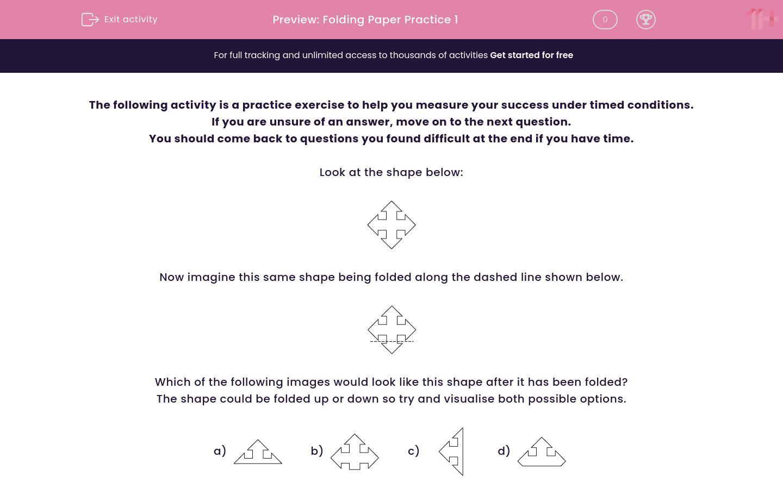 'Folding Paper Practice 1' worksheet