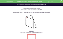 'Know Your 2D Shapes: Counting Right Angles' worksheet