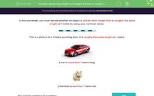 'Measuring Length and Height: Shorter or Longer than 1 Metre?' worksheet